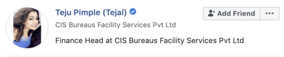 tejal facebook verification